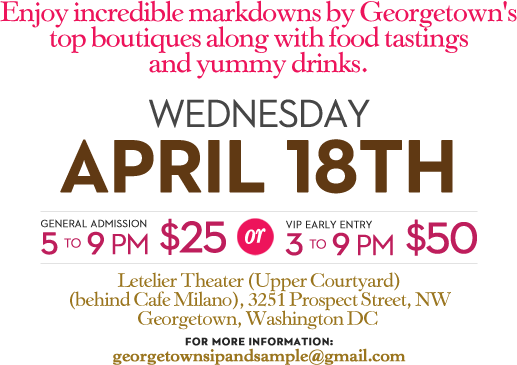 Event Announcement: Georgetown Sip & Sample Wednesday, April 18th ...