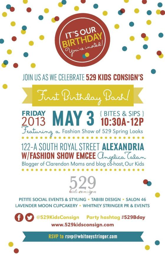 You're Invited: 529KidsConsign Boutique Celebrates One Year! Join the Party Friday May 3rd 10:30 AM to 12 Noon