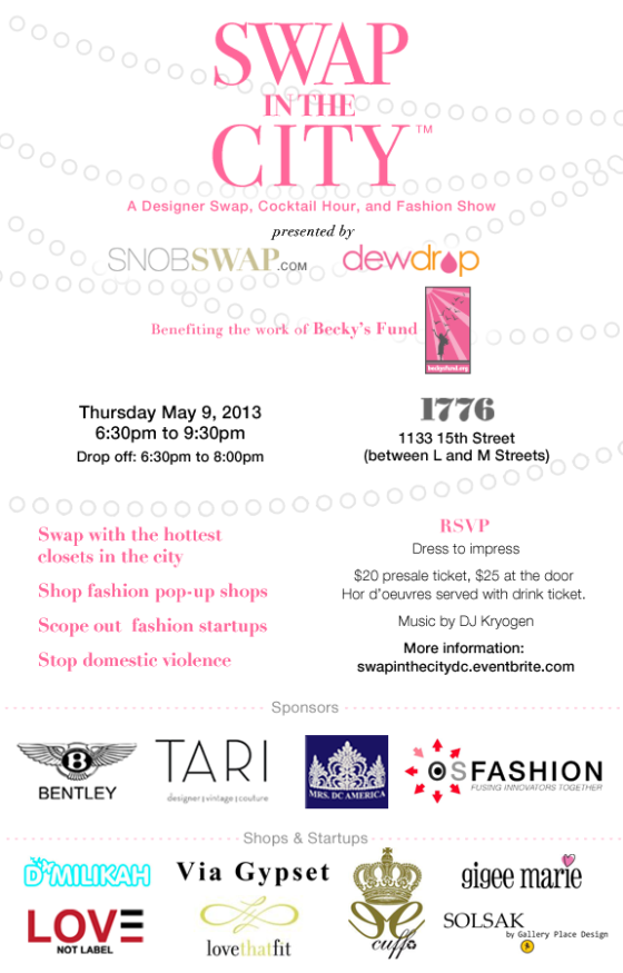 You're Invited: SWAP in the CITY, Thursday May 9th from 6:30 PM to 9:30 PM (benefitting Becky's Fund)